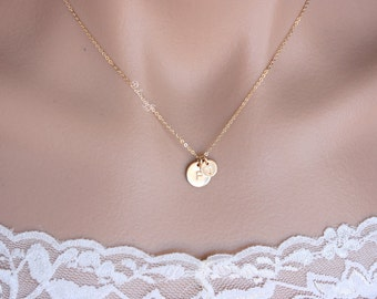 Double Initial Disc Necklace In 14K Gold Filled / Personalized Necklace / Gold Initial Necklace / Mother and Daughter / Couple Necklace