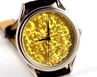 Watch hologram, quartz watch, gold hologram watch,