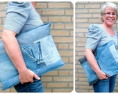 "15"" Laptop Sleeve, Denim Patchwork Laptop Sleeve, 15 inch Sleeve, Eco-Friendly Padded Gadget Cozy, Men - Blue & Black Denim, Quilted Lining"