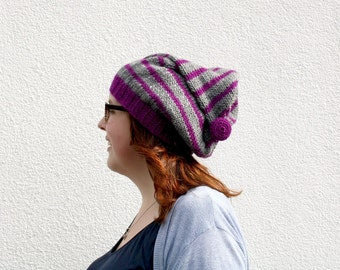 Pointy Slouchy Beanie, Striped Beanie with Button, Hand Knitted Pointed Hat, Fall Autumn Accessories, Winter Fashion - Purple and Gray, Grey