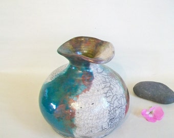Raku-Pit Fired Crackle and Copper Vase
