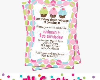 Cupcake Party Invitation - Cupcake Birthday Party Invite - Cupcake Invite - Printable Cupcakie Invitation - Polka Dot Printable Invitation