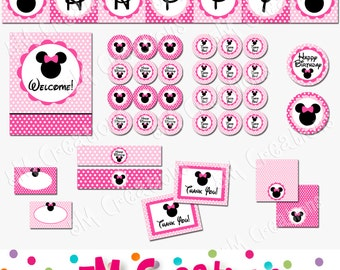 Mouse Birthday Party Printable Decorations Package - Mouse Bowtique - Banner Cupcake Toppers INSTANT DOWNLOAD Pdf