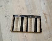 Vintage 1970s clutch. 70s wool striped bag