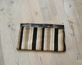 Vintage 1970s clutch. 70s wool striped bag