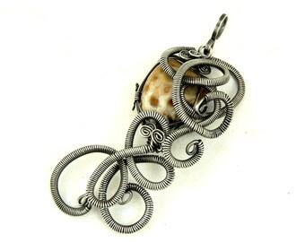 Steampunk Pendant, Jasper Pendant, Silver Pendant, Wire Wrapped Pendant, Gemstone Pendant, Jasper Necklace, Retro Pendant Necklace