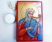 Saint David The King,  handpainted icon, Baptism Gift, St David King Of Israel, 6 x 4 inches