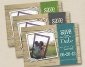 Washi Tape Rustic Photo Custom Save the Date or Engagement Party Invitation Design