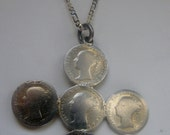 Early Victorian Coin Pendant 3 Pence Coins 1839 1844 1848 1854