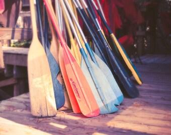 Fine Art Print, Canoe Paddles, Summer Camp, Fine Art Photography, Lakehouse Decor, Wall Art, Landscape, Rowing, 11x14 Print, Nautical, Boats
