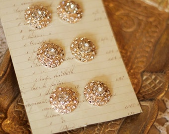 Crystal rhinestone vintage inspired buttons - set of 6