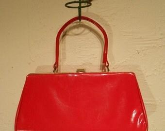 Flaming Red Worries - 1950s Cherry Red Vinyl Patent Large Handbag