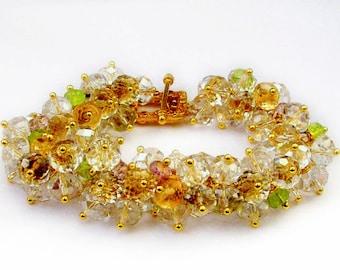 Ethereal - Gemstone Cluster Bracelet, Custom Made Bridal Bracelet