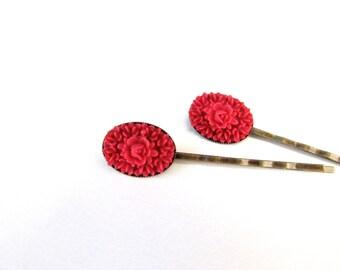 Pink Flower Bobby Pins, Dark Raspberry Pink Oval Hairpins