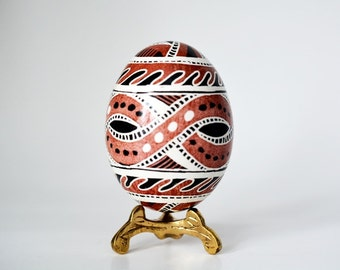 Trypillian Pysanka Ukrainian Easter egg hand painted chicken egg shell ~ ancient mythology ~ Cucuteni culture drawings ~ tribal designs