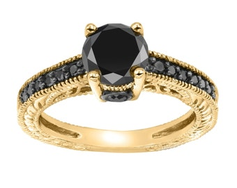 Fancy Black Diamond Engagement Ring Filigree Antique Vintage Style Engraved 14K Yellow Gold 1.35 Carat Pave Handmade Certified
