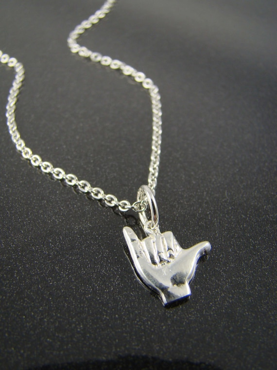 Shaka Sign Necklace Hang Loose Charm By Shinylittleblessings