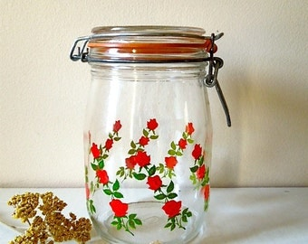Vintage French Canning Jar with Roses Decal, ON SALE