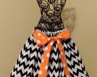 Size 4 - Black and White Chevron Skirt & Sash - READY TO SHIP by O So Darling!