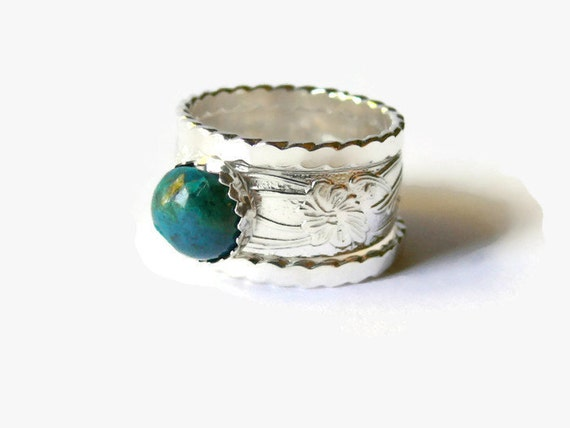 wide band ring chrysocolla ring promise ring turquoise blue