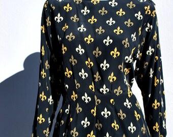 Vintage 80's ANN TAYLOR silk blouse fleur de lis design NOS pleated front and front s6 by thekaliman
