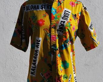 Vintage 60's MALIHINI Hawaiian shirt shirt neon tiki honolulu street signs print hippie surfer shirt small by thekaliman