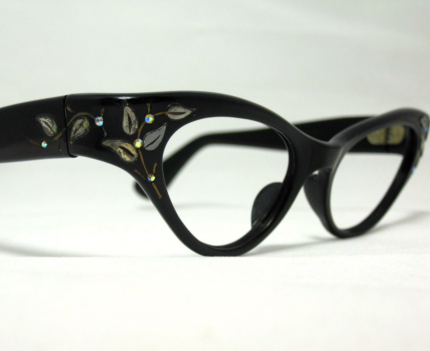 Vintage 60s Cat Eye Glasses. Black Wrap Around Frames with