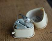 Art Deco 18K 1/2 carat European cut engagement ring ∙ 1920s orange blossom engagement ring