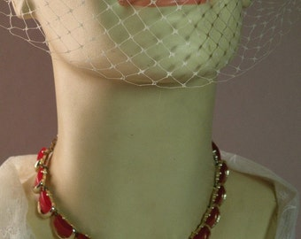 Vintage Cranberry Thermoplastic Necklace