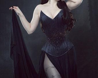 Halloween Dia de los Muertos big headband of sheer black roses with black leaves gothic princess romantic boho