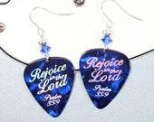 Rejoice! - Christian Earrings - Bible Scripture Art Guitar Pick Earrings - Rejoice in the LORD - Psalm 35:9