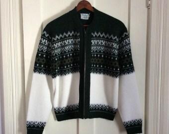 Vintage 1950's Mens Cardigan Zip-up Sweater size Medium Indian Brand Nordic Ski Rockabilly Navajo