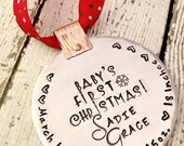 Personalized Baby's First Christmas Ornament - Hand Stamped - Baby Name Date Birth Statistics - Christmas Ornament - Holiday Gift