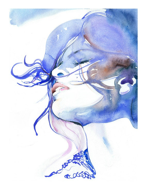 Fashion Portrait, Prints of Watercolour Fashion Illustration, Eva Mendes, Fashion Art Print