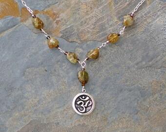 Om Necklace, Green Garnet Necklace, Natural Stone Necklace, Yoga Necklace, Green Necklace, Silver Necklace, Yoga Jewelry, Handmade Necklace