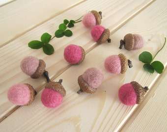 Pink Wool Felted Acorns, Waldorf Christmas Decor, Home Fall Decor, Fairy Girl Party, Montessori Play, Woodland Wedding Favor, ROSES Set