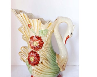 Limoges Reproduction Ewer/Water Pitcher Swan Home and Garden Kitchen and Dining Tableware Serveware Serving Pitchers and Carafes