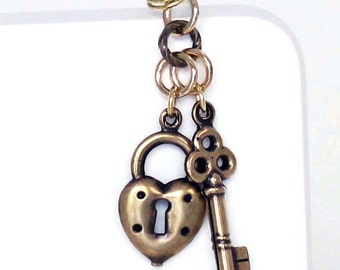 Dust Plug Charm - Heart Lock, Skeleton Key, Choice of Finish in Antique Silver, Copper or Gold