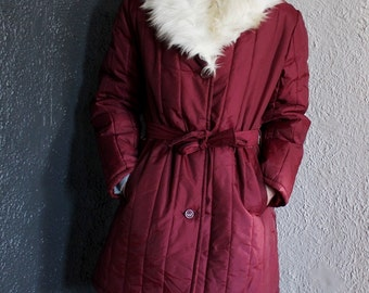 Vintage Waterproof Winter Coat Jacket Burgundy Maroon Wine Colored with Belt and White Faux Rabbit Fur Collar Trim M/L