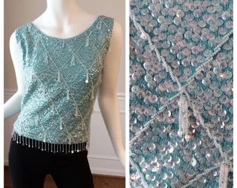 Vintage 1960s Beaded Cocktail Top in Light Blue