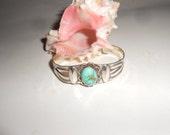 Turquoise Cuff Bracelet Fred Harvey Era Stamped Sterling Silver Navajo Vintage Unisex Beauty
