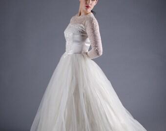 Vintage 1950s Wedding Dress - Tulle 50s Wedding Dress - Heart & Soul Dress
