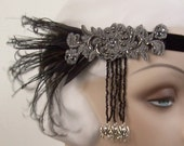 spooky flapper halloween costume spider headband creepy elegance black and pewter headpiece with black feathers - last one