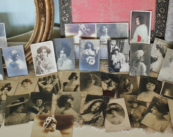 35 Antique Real Photo Post Card Portraits  of Young Actresses Women   SALE - was 78.00