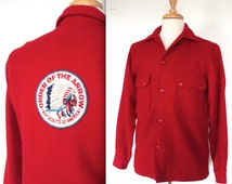 Vintage 1960s Jacket  // 50s 60s Red Wool Boy Scouts of America Jacket // Order of the Arrow // DIVINE