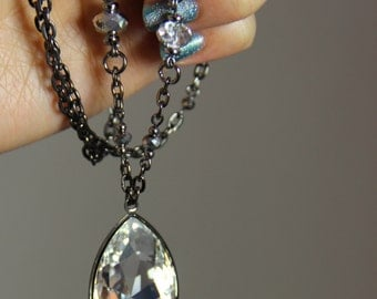 Midnight Twinkle - Big Swarovski Crystal Pendant Long Gunmetal Chain Necklace Neutral Silver Elegant Layering Necklace