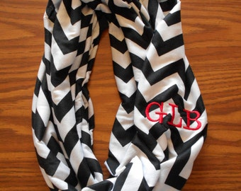 Custom Monogrammed Chevron Infinity Scarf in Different Colors