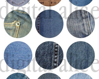 OLD WORN DENIM Craft Circles- Vintage Blue JeanTextures for Bottlecaps , stickers, Printables more - 3 sizes