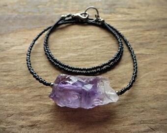 Rough Amethyst Crystal Necklace, raw purple gemstone February birthstone jewelry, dainty beaded Bohemian crystal necklace