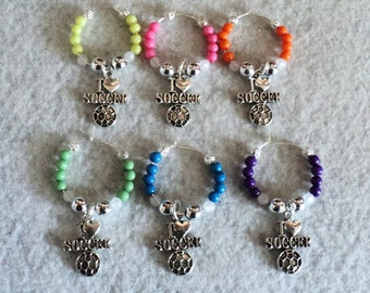 Wine Glass Charm, Wine Glass Marker, Party Accessory, Sports, Soccer, Soccer Party, Winery Gift, Sports Theme - GOAL!
